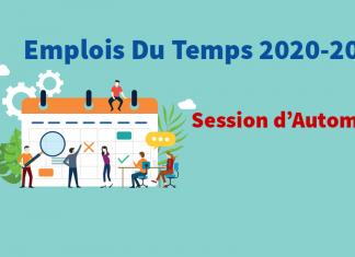 Emplois du Temps – Session d'Automne 2020  2021 | ENSAD   École