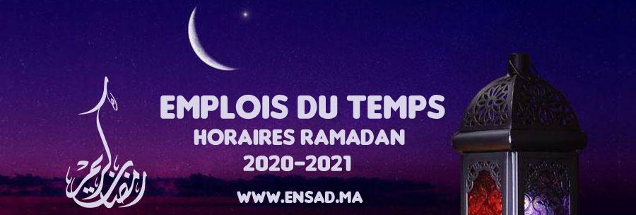 Emplois du Temps (Horaires Ramadan) 2021
